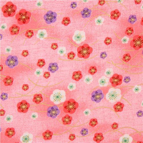 pink Asia purple pink white blossom flower gold metallic embellishment fabric