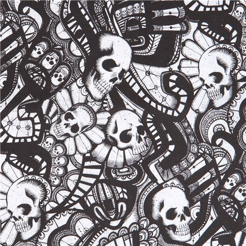 black off-white Alexander Henry fabric skull The Catacombs