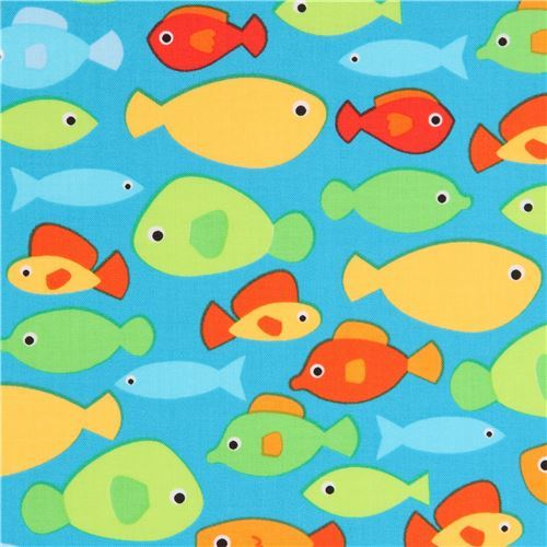 blue Robert Kaufman fabric cute colorful fish Sea and Sun