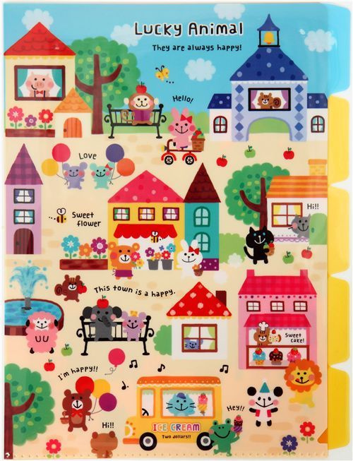 cute Animals Town A4 plastic file folder 5-pocket Kamio