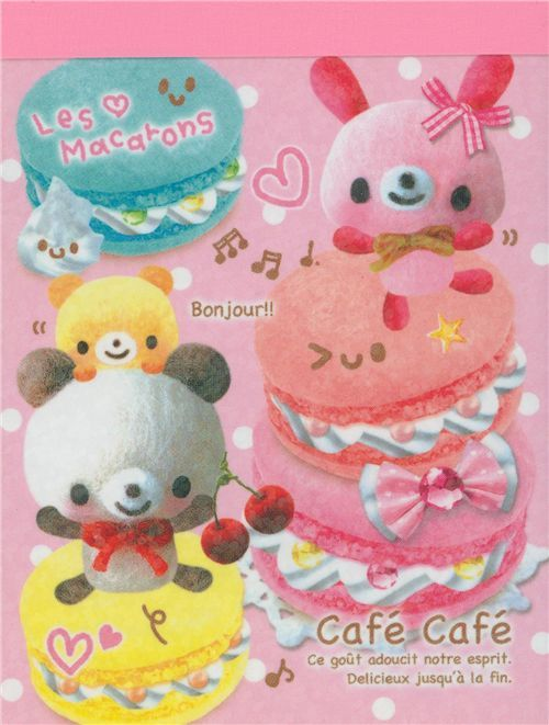 mini Memo Pad Cafe Cafe Bear Macaroons Japan kawaii