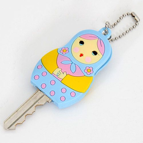 cute blue matryoshka key cover charm