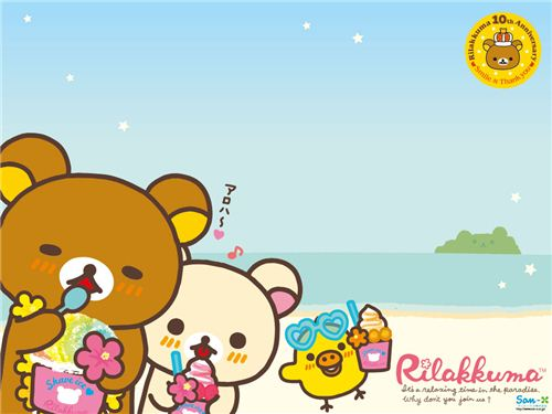 Pure summer feeling. A kawaii Rilakkuma wallpaper from the Aloha Rilakkuma collection