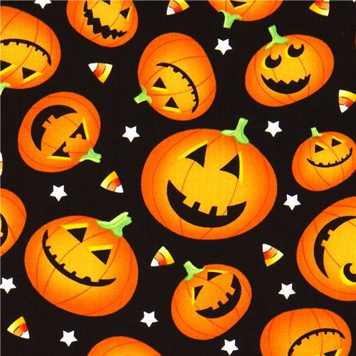 black Halloween designer fabric with orange pumpkins
