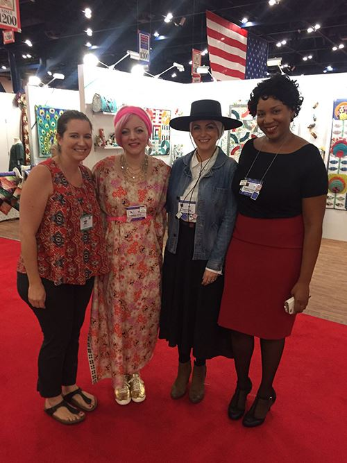 Sandra with Melody Miller (second from the left, wearing the pink headband) of Cotton + Steel