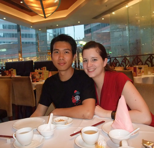 my husband & me in the restaurant enjoying some good Chinese food