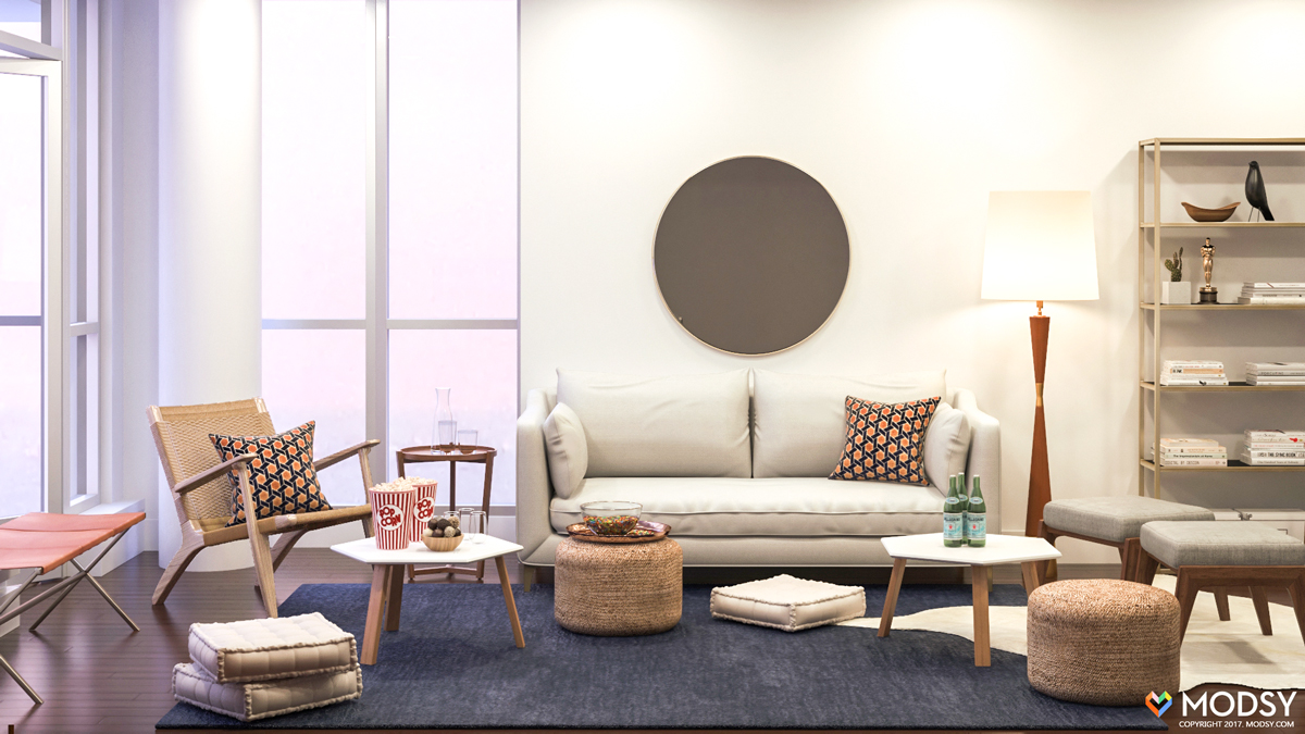 Small Living Room Layout Hosting A Tv Viewing Party In A