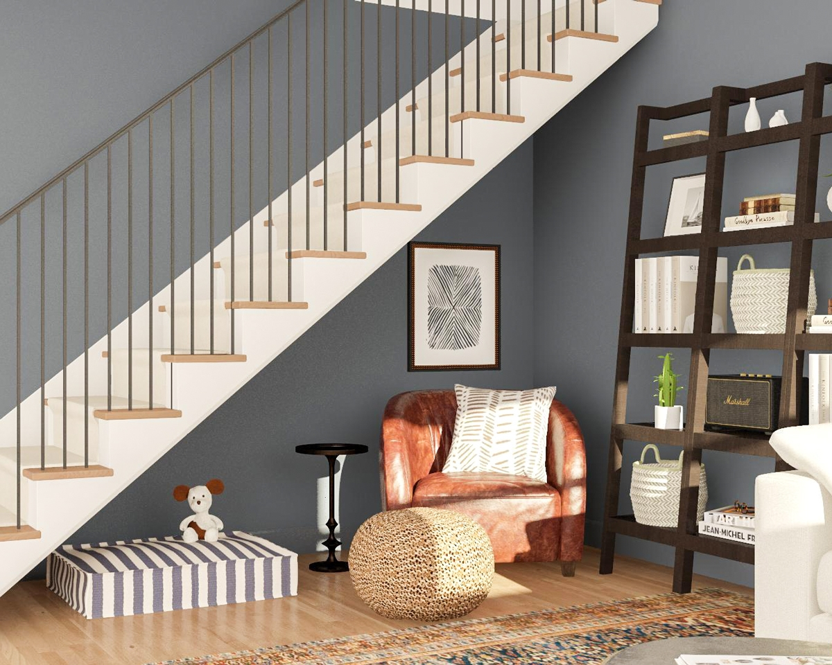 5 Ways To Put The Awkward Nook Under The Stairs To Use Modsy Blog | Living Room Design Under Stairs | Kid | Space Saving | Luxury Modern | Small Space | Storage