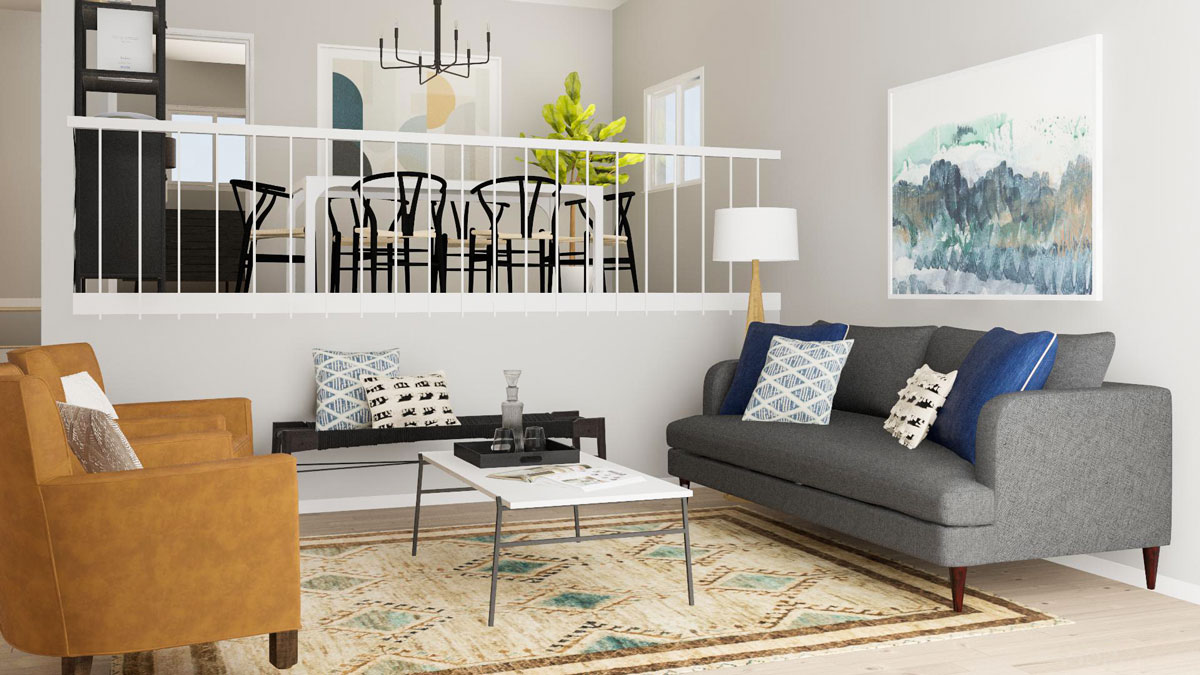Open Layout Solutions For A Split Level Living Room Modsy Blog