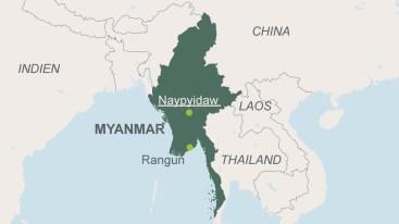 Dies ist die Karte von Myanmar. Sie zeigt die Hauptstadt Naypyidaw und die ehemalige Hauptstadt Rangun oder Yangon