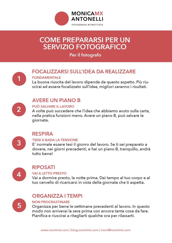 """Infografica """"Come prepararsi per un servizio fotografico"""", per il fotografo"""