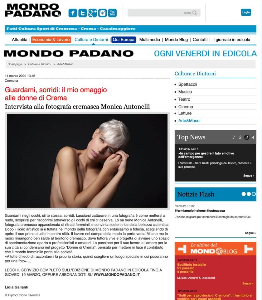 Intervista pubblicata sul sito di Mondo Padano