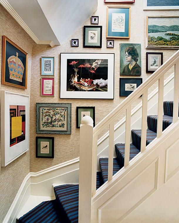 decoracao-com-quadros-em-escadas