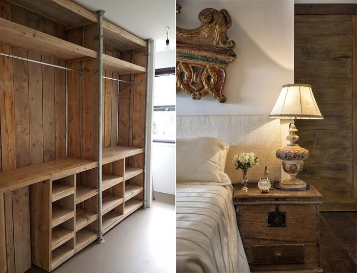 decoração de quarto com móveis rústicos madeira