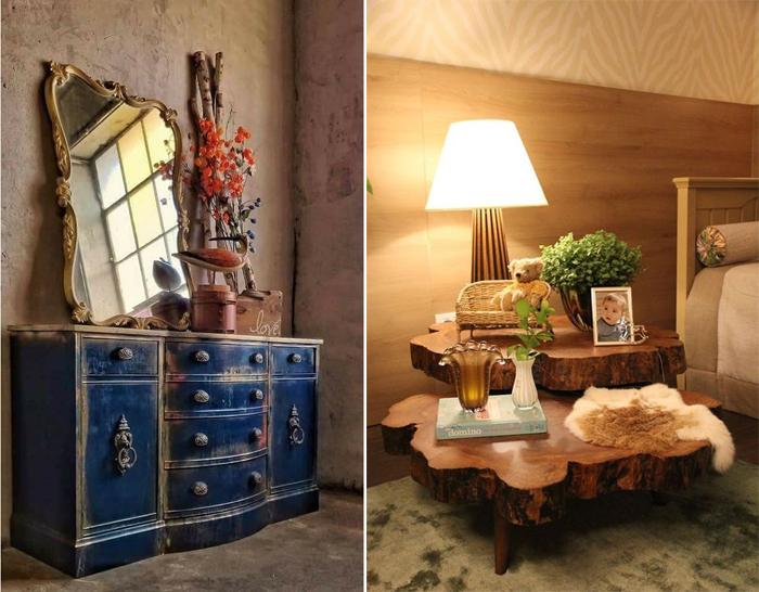 decoração de quarto com móveis rústicos cores