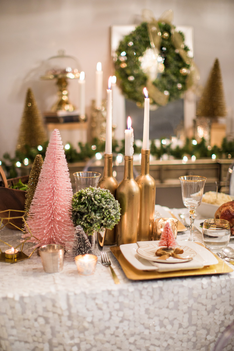 cute holiday table decor, colorful holiday table, pink christmas tree, morning lavender - 06