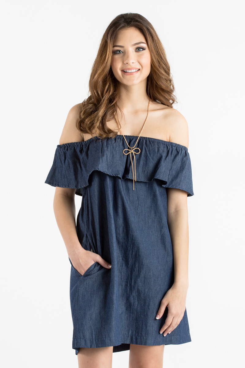 morning lavender cute off the shoulder denim dress - 04