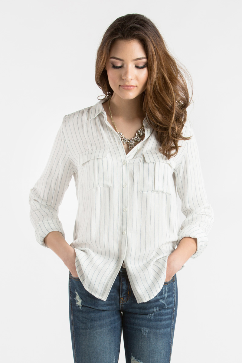 morning lavender cute stripe button down blouse for women - 01