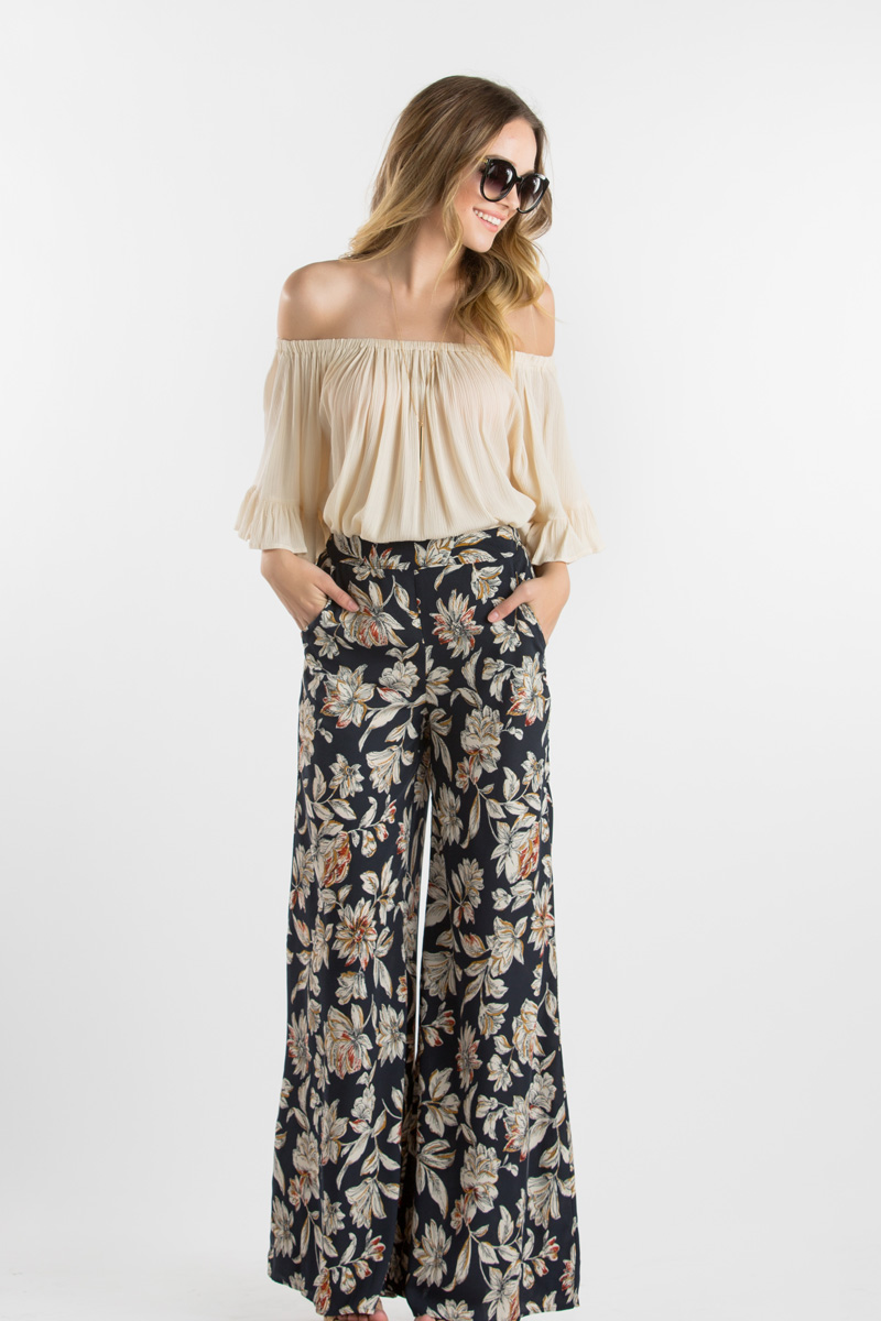 morning lavender cute wide leg pants for women - 103