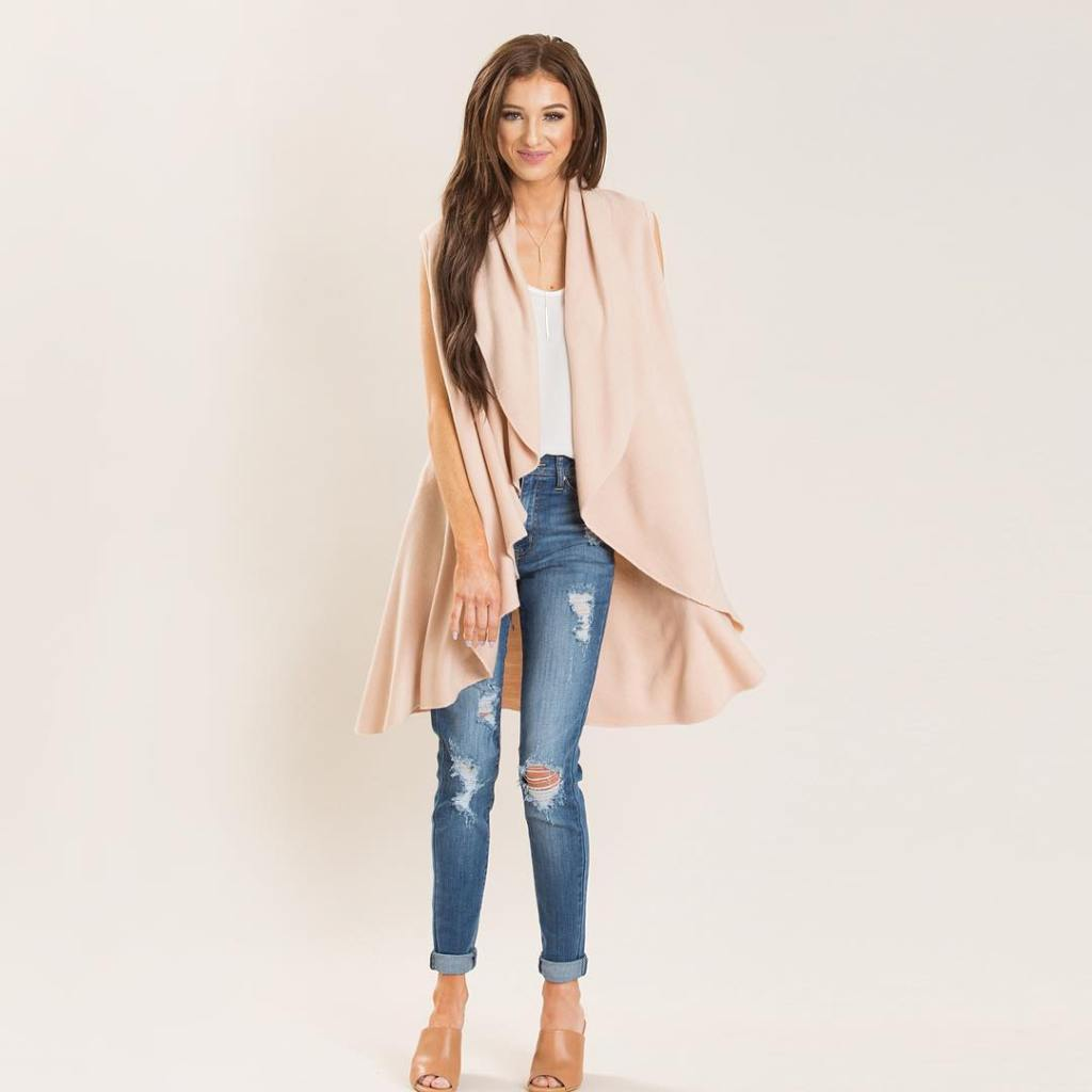 Our Priscilla Sleeveless Shawl is the perfect outerwear for Springhellip