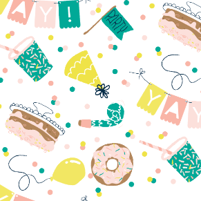 Illustrated party pattern festive