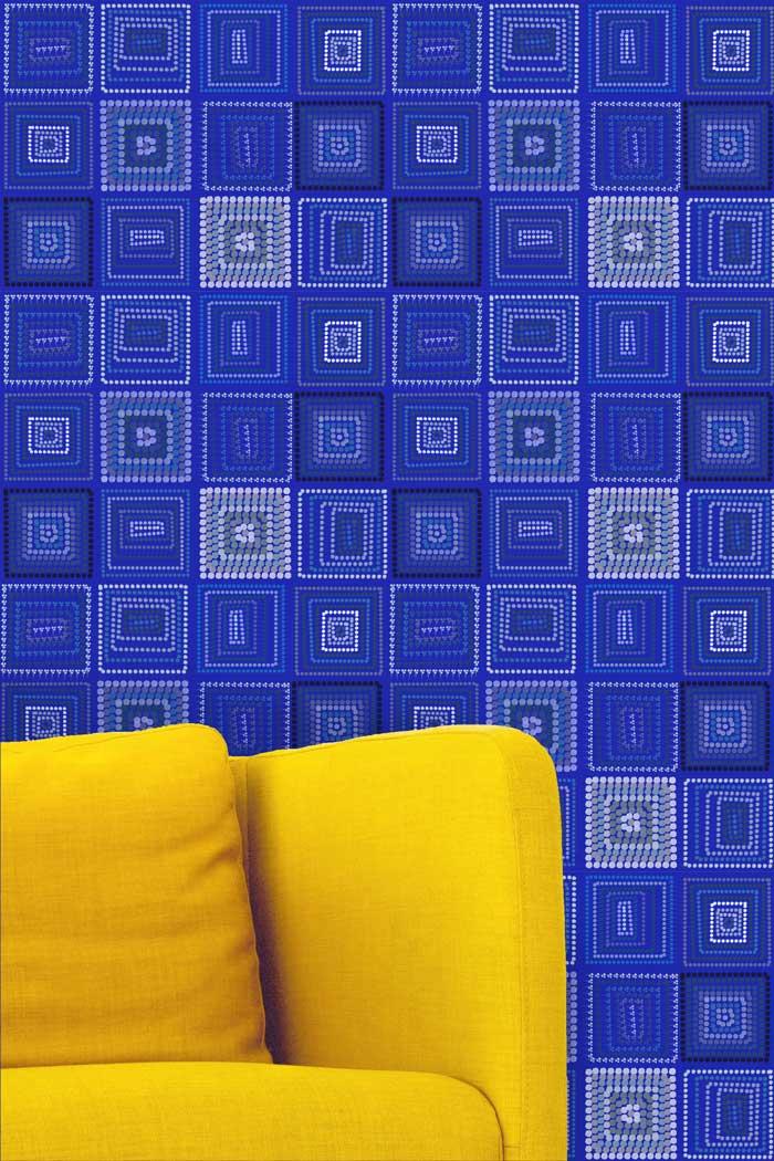 Majorelleblauw behang
