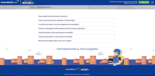 página com as dúvidas mais comuns sobre a entrega de bateria