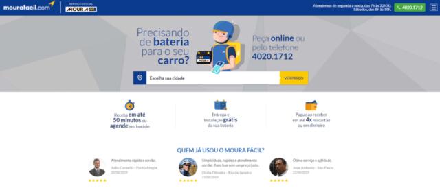 página de entrega de bateria do mourafacil.com