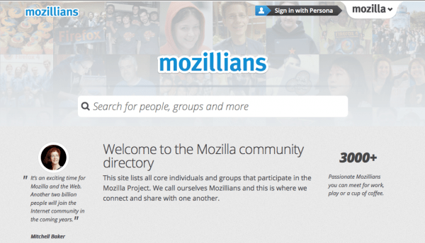 mozillians.org homepage