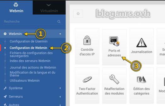 Modifier le port de connexion à Webmin