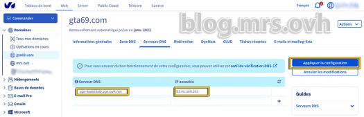 Manager OVH - Serveurs DNS