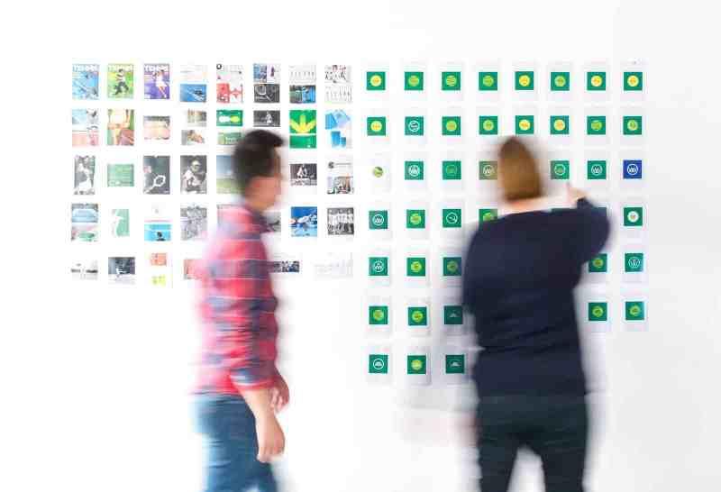 team organizing ideas on post its