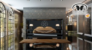 Cabezal corrido de la colección Sherik II de F. Franco Furniture.
