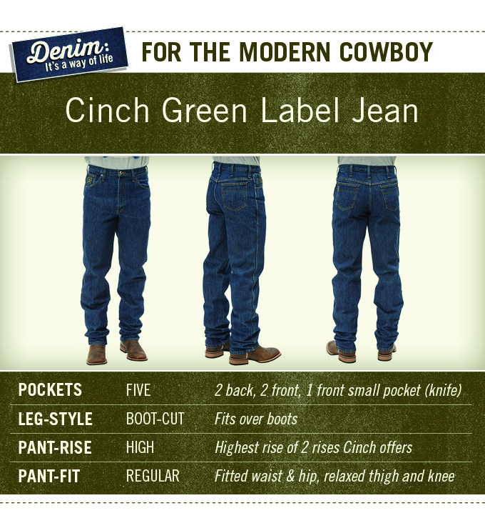 Murdoch's Cinch Green Label Jeans are for the modern cowboy. They have five pockets, high-rise, boot cut, and a regular fit around the legs.