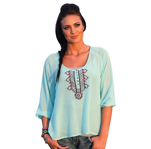 Cruel Women's Peasant Chiffon Aztec Embroidered Blouse