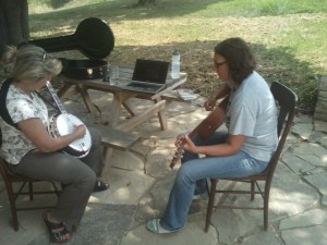 A shining example to all! Betty, left, and Steph, right, jamming.