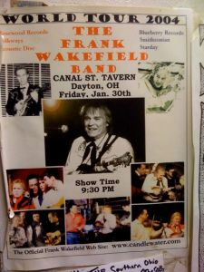 A flyer in the Canal Street Tavern for a Frank Wakefield show a few years back.