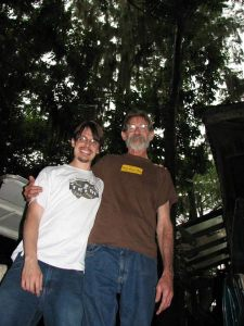 Chris Henry and Dale Crider in Dale's swamp.