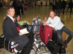 Buddy Woodward, Casey Henry, Rachel Johnson, Todd Livingston and luggage.