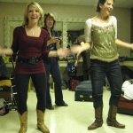 Rachel Johnson and Kristin Andreassen working up their clogging bit. (Paula Bradley in the background.)
