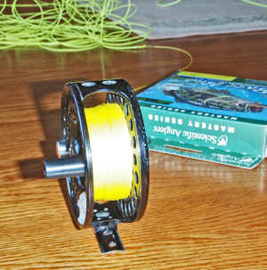 Step 1 Remove old fly line from reel.
