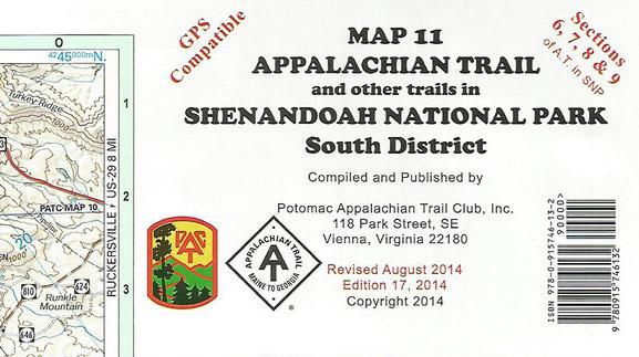 Shenandoah National Park South District Map 11 PATC Map Hiking Map Trail Map
