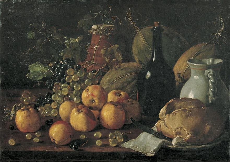 Luis Egidio Meléndez, Natura morta amb pomes, raïm, melons, pa, gerra i ampolla, c. 1771, Museu Nacional d'Art de Catalunya.