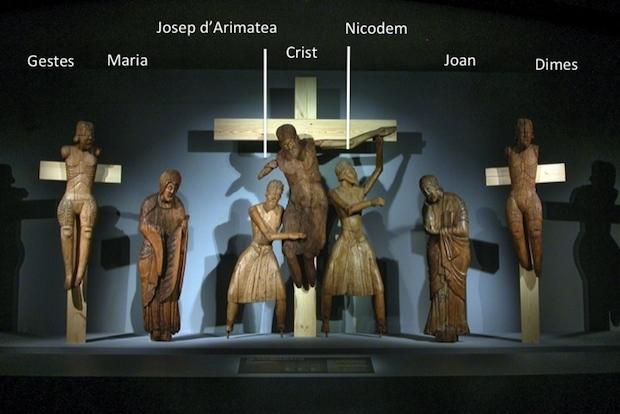 Davallament d'Erill la Vall, segona meitat del s. XII, amb les peces del Museu Episcopal de Vic (Gestes, Josep d'Artimatea, Crist, Nicodem i Dimes) i del Museu Nacional d'Art de Catalunya (Maria i Joan)