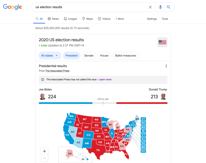 Google search result page shows overall results provided by AP on top
