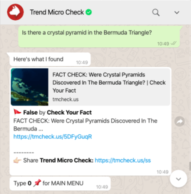 Ask Trend Micro Check questions on WhatsApp.