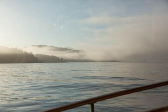 mv Archimedes heading into the fog at San Juan Island