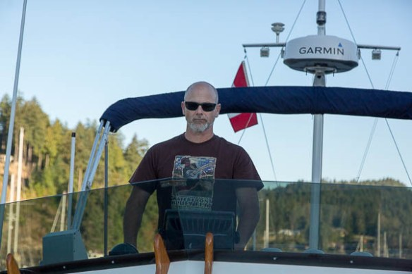 mv Archimedes Bruce at the helm