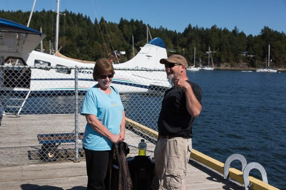 mv Archimedes Kim and Bruce at the float plane dock
