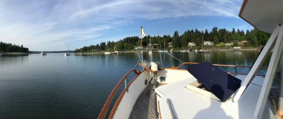 mv Archimedes anchored in Port Madison